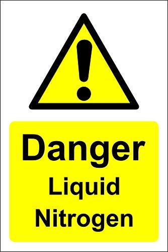 Warnschild mit flüssigem Stickstoff, selbstklebend, 300 mm x 200 mm