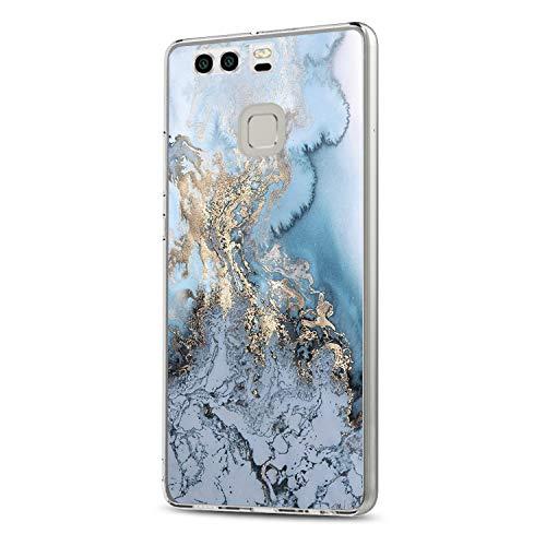 Huawei P9 Hülle, 14chvily Schutzhülle Huawei P9 Plus Handyhülle Soft Marmor Cover Rückschale Blume Flüssigkristall Silicone Schutz Shockproof Handytasche für Huawei P9 Plus - Ultra dünn (4.0, P9)