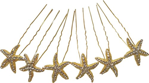 Shop Ginger Wedding Set of 6 Sea Star Rhinestone Crystal Hair Pins Starfish (Gold)