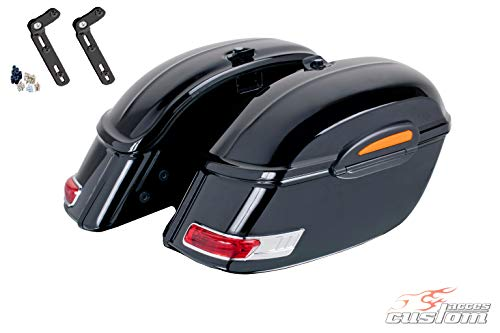 Amazing Deal Customacces AZ0358N Hard Saddlebags Touring (Pair) 33L. + Mounting Kit Harley Davidson ...