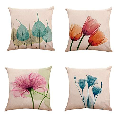 LYTFQ Funda De Cojín De Lino Decorativas Fundas Cojines 4 Piezas Tulipanes Flores Minimalistas Modernas Cushion Cover para Sofa Jardin Cama Coche Decorativo 45X45Cm (Sin Núcleo De Almohada)