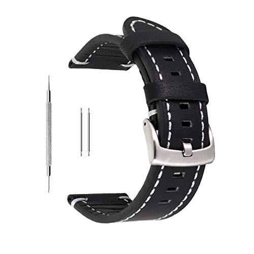 Uhrenarmband aus Echtleder von Berfine, extra weiches Echtleder, Ersatzarmband für Damen- und Herrenuhren, schwarz, braun, 18mm, 20mm, 22mm, Schwarz , 18 mm