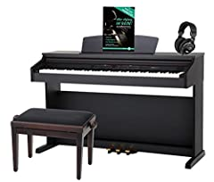 Klassieke Cantabile DP-50 RH E-Piano SET (digitale piano met hamermechanisme, 88 knoppen, 2 connectoren voor hoofdtelefoons, USB, LED, 3 pedalen, piano voor beginners, pianobank, koptelefoon, pianoschool) Rosewood*