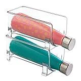 mDesign Botellero de vino para guardar botellas de vino o botellas de agua - Botellero apilable ideal para armarios de cocina y encimeras - Set de 2 unidades en color transparente