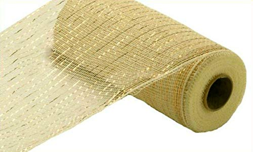 10 inch x 30 feet Deco Poly Mesh Ribbon - Cream with Gold Foil