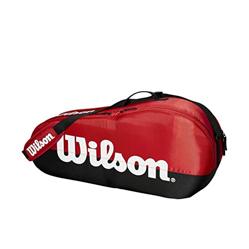 Wilson Team 1 Comp, Tennis Bag Unisex-Adult, Black/Red, 3 rackets