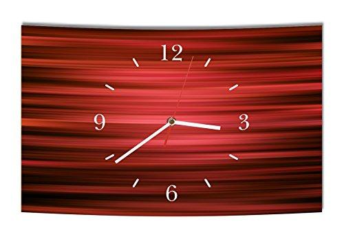 Homeyourself LAUTLOSE Designer Wanduhr Abstrakt rot schwarz modern Dekoschild Abstrakt Bild 38 x 25cm
