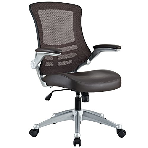 Modway Attainment Mesh Back and Vinyl Seat Modern Office Chair in Brown