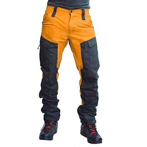 N\P Los hombres bloque de color multi bolsillos deportes largos pantalones de carga pantalones de trabajo tácticos de los hombres de trabajo pantalones de secado rápido pantalones