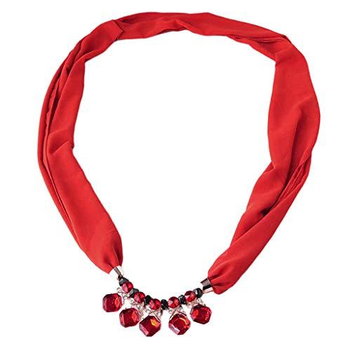 IPOTCH Bufanda de Gasa Collar Gargantilla Colgante de Cuentas Vintage Joyas para Boda Fiesta - rojo, talla única