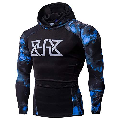 Men's Elastic Top Sweatshirt Hooded Fitness Printed Sports Blue