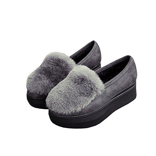 [ANGELCITY] レディース ルームシューズ 5cm 厚底 ふわふわ もこもこ ファー 付き かかと付きで 冬でもあったか かわいい スリッパ スリッポン モカシン フラット 履きやすい 美脚 軽量 おしゃれ (25cm, グレー)