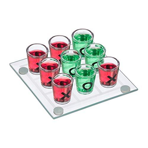 Relaxdays 10022787 Tris Alcolico per Adulti, 2 Persone, 9 Bicchierini, Gioco per Addii al Celibato e Nubilato, Divertente Drinking Game, Colore Trasparente,