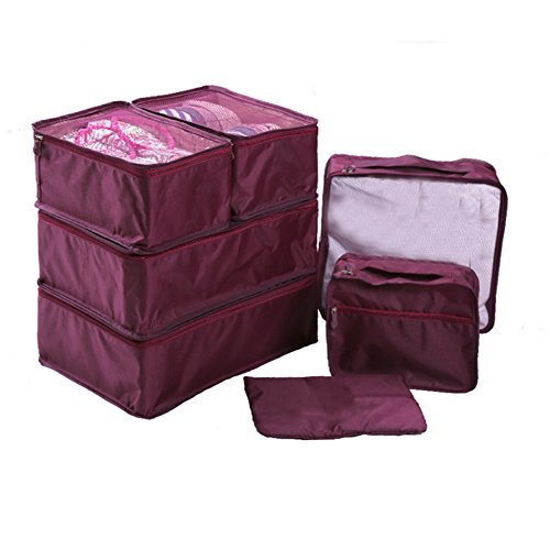 Ewparts 7 Pack Travel Packing Organizer Set, Verpackung Cubes Essential Taschen in Bag Travel Storage(Mulberry)