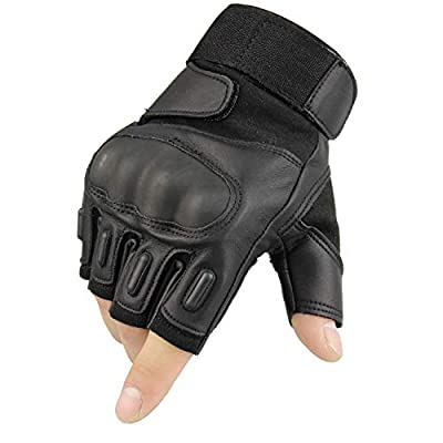 Fuyuanda Half Finger Glove Hard Knuckle Men`s Outdoor Sport Fingerless Tactical Glove for Military Shooting Motorcycle Riding Hiking Hunting Armor Airsoft
