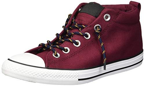 Converse Boys' Chuck Taylor All Star Street Mid Sneaker, Dark Burgundy/Black, 5.5 M US Big Kid