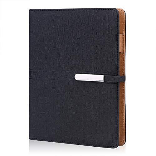 FOBOZONE Notizbuch aus Leder, A5, nachfüllbar, lose Blätter, Business-Notizbücher, Tagebücher, 200 dicke Seiten, klassisch liniert, mit Tasche und Stifthalter, tolles Geschenk.