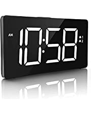 """Epeios Digital Alarm Clocks, LED Display Clock with Snooze Function and 6 Brightness Dimmer, 5"""" Curved Screen,Big White Digital Display for Bedroom,Office,Black (Adapter not Included)"""