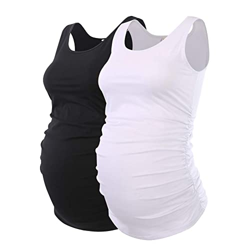 1d632bf89d5d14 Liu   Qu Maternity Basic Tank Top Mama Clothes Neck Sleeveless Tops Women s  Solid Side Ruching