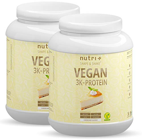 NUTRI-PLUS SHAPE & SHAKE Käsekuchen 2kg Protein Pulver - 83,8% Eiweiß - Veganes Eiweißpulver ohne Laktose - 3k Proteinpulver Vegan Cheesecake 2000g