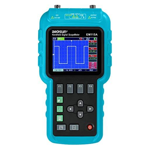 YELLAYBY Portátil Multímetro osciloscopio digital portátil multifunción 3 en 1 de 50 MHz Generador de Señal LCD Función USB 200 MSa/S EM 115 A Alta precisión