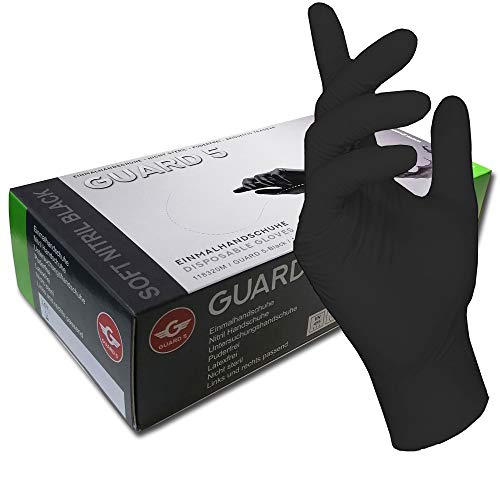 200 Unidades - Desechables Guantes - GUARD 5 - Negro Guantes de nitrilo Guantes Guantes Desechables de Tatuajes Cocina, Negro (Extra Large)