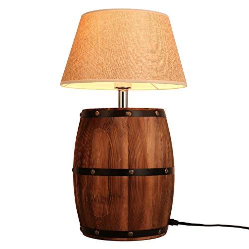 Newrays, lámpara de escritorio de mesa de barril de vino de madera antigua y moderna, pantalla de tela con interruptor para dormitorio, sala de estar, enchuf