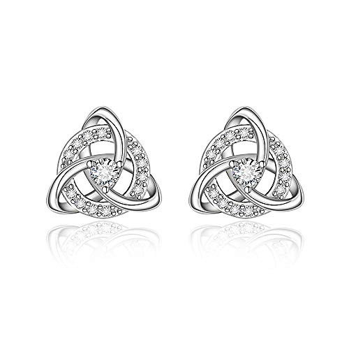 Mothers Day Celtic Knot Earrings for women Mom Girls Trinity Triangle Round Triquetra Crystal Stud Irish 925 Sterling Silver Infinity Earring Dainty Trendy Clip On Piercing Jewelry