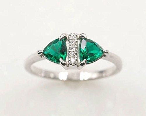 Amazon Com Emerald Diamond Ring Lab Created Emerald Diamond Wedding Ring Trillion Emerald Unique Ring Diamond Engagement Ring Rose Gold Emerald Ring Handmade