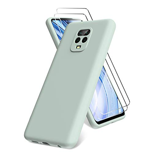 Oududianzi Funda Compatible con Xiaomi Redmi Note 9 Pro/Note 9S , 2 Unidades Protector Pantalla Cristal Templado, Silicona Líquida Gel Ultra Suave Funda con tapete de Microfibra Anti-Rasguño - Menta