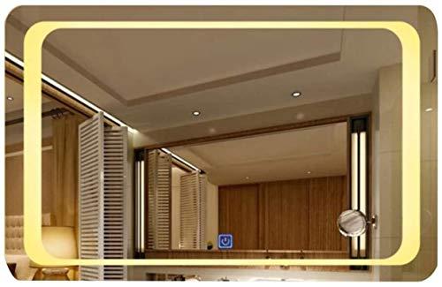 Espejos de baño LED Iluminación LED MONTAJE MONTAJE MONTAJE MONTAJE CON EL INICIO DE TOUCHO BAJO DE BAÑO ANTILIO ESPEJO (COLOR: Luz caliente, Tamaño: 60x80cm) ( Color : Warm Light , Size : 70x90cm )