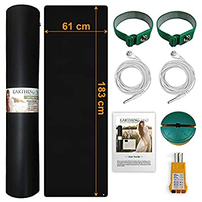 Earthing Yoga Mat (60cm X 180cm) with 2 Grounding Cable?Bonus 2 X Earthing Wrist Straps?Eco-Friendly TPE Grounding Mat Earthing
