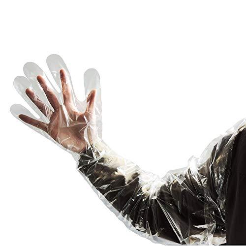 50 stycken engångs mjuk plastfolie handskar lång arm veterinär undersökning konstgjord befruktning arbete skydda handske boskap verktyg (vit)