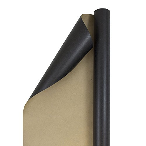 JAM PAPER Gift Wrap - Kraft Wrapping Paper - 25 Sq Ft - Black Kraft Paper - Roll Sold Individually