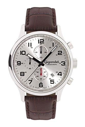 Gigandet Herren Uhr Chronograph Quarz mit Leder Armband G51-003