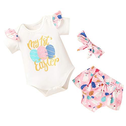 Haokaini Conjunto de ropa de Pascua de manga corta con volantes y pantalones cortos de diadema para fiestas, blanco, 18 meses