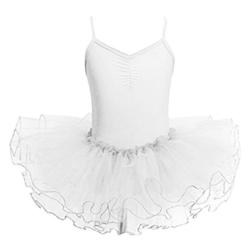 Mangotree Mädchen Ballettkleider Shirt Ballettanzug Turnanzug Girls Festzug Kleid Trikot Tanz Tüll Rock (Alter: 2-9 Jahre) (Weiß, 110 (für 2-3 Jahre))