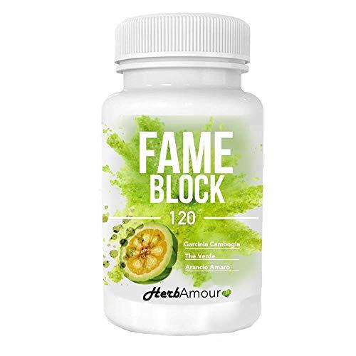 HerbAmour FAME BLOCK | 120 cpr. Dimagranti Forti E Brucia Grassi Efficaci | Perdipeso Per Perdere Chili Velocemente | Termogenico Eccezionale E Riduttore di Appetito | Senza Caffeina E Senza Glutine