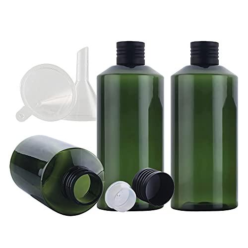 YAMAXUN 3 PCS - Botellas De Plástico Vacías De 200 Ml con Tapas De Rosca De Aluminio Negro Y Reductores De Orificio Recipientes Recargables para Desmaquillador Cosmético Aceite Esencial,50ML