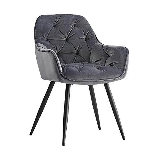 AINPECCA Dining Chair Velvet Thick Padded Armchair Upholstered Seat Tub Chair with Black Metal Legs (Grey, Velvet)…