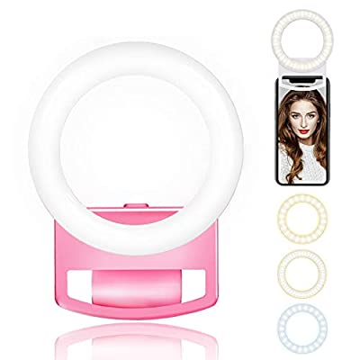 ACMEME Mini Selfie Ring Light, Rechargeable Portable Clip-on Small Selfie Fill Light with 56 LED for Smart Phone Photography, Camera Video, Girl Makes up from ACMEME-Business