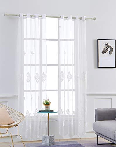 M&W DasDesign Gardinenschal transparent Stoff Ösenschal Wohnzimmer Voile Barock Blumen Muster Stickerei Stores für Sonnen- und Sichtschutz 140 x 245 cm weiß (1 Stück)