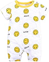 Dgxd Ins BABY BODYSUIT summer baby clothes pure cotton newborn hardcover thin short sleeve baby crawling(Hy2462w smile, 90)