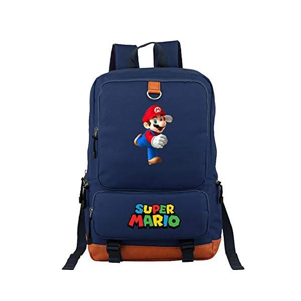 Mochila de Super Mario Bros, Bolsa de Libro para Estudiantes Bolsa de Viaje para Hombro para Computadora Portátil…
