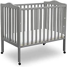 Delta Children Folding Portable Mini Baby Crib with Mattress, Grey