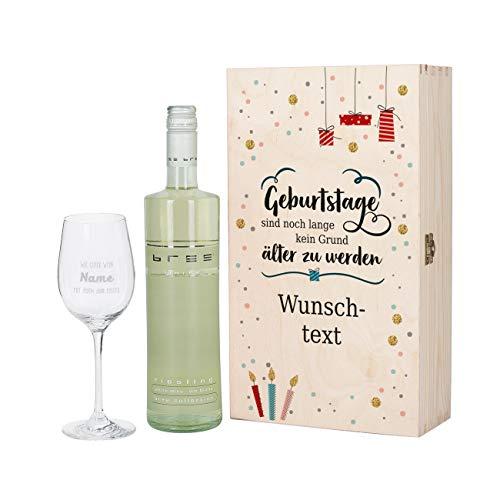 Herz & Heim® Geburtstagsgeschenk mit graviertem Weinglas und Bree Wein zur Auswahl in Präsentbox als Geschenk zum Geburtstag für Frauen und Männer Weiß