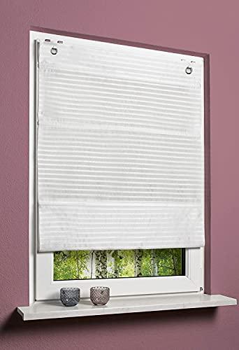 Home WOHNIDEEN - Estor magnético sin agujeros, opaco, diseño de rayas horizontales, 130 x 60 cm, color blanco