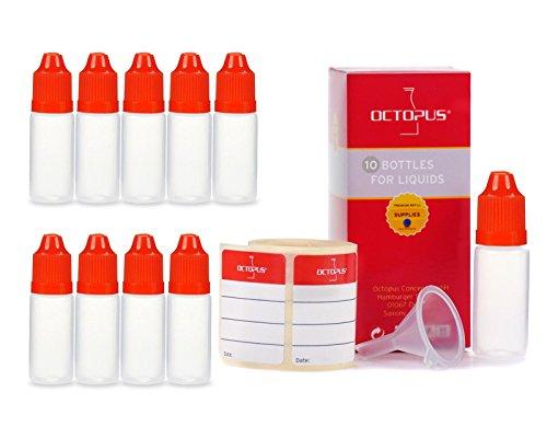10x botellas de líquido de 10 ml con embudos + etiquetas, p. para e-liquids + e-cigarettes, botellas de plástico hechas de PE LDPE, botellas de dosificación líquidas, botellas que caen o botel