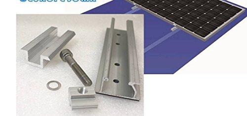 Solarmodul Alu Halterung: Schiene + 35 mm Mittelklemme. Blech Dach. PV. Camping.