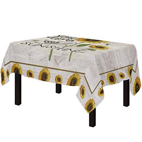 Tablecloths for Rectangle Table Rustic Sunflowers on Wooden Texture, Cotton Linen Fabric Table Cover Tabletop Cloth for Dining Room Kitchen, You are My Sunshine